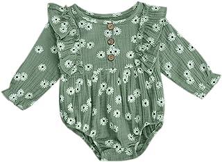 طفل الفتيات ديزي زهرة مطبوعة رومبير رضيع تكدرت كم طويل حللا القطن والكتان ملابس (Color : Green, Kid Size : 6M)