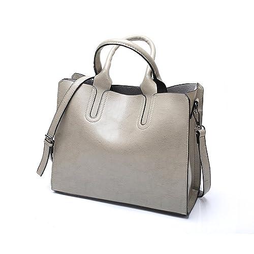 VANCOO New Trendy Womens Tote Bags Ladies Handbags Shoulder Bag for Women Oil Wax Leather (Grey)