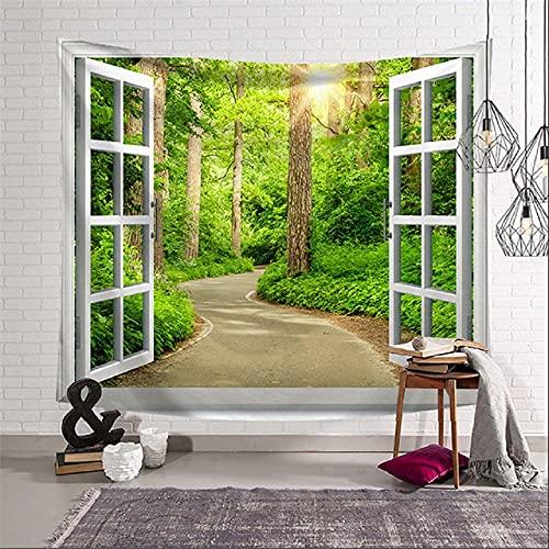 GGSDDU El Paisaje Fuera De La Ventana Tapiz Estético Colgante De Pared Bosque Verde Tapiz De Pared Trippy Decoración Del Hogar Impresión De Arte Tapices De Tela Para Dormitorio,40' x 30' (100×75 cm)