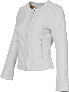Womens Leather Jackets Motorcycle Bomber Biker White Real Leather Jacket Women