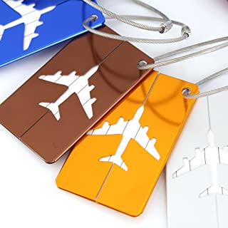 7 Pcs/Set Metal Travel Luggage Tags for Suitcases, Aluminium Alloy Travel Luggage Bag Tags Identifier Tags, Suitcase Label...