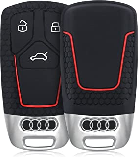 kwmobile Car Key Cover for Audi - Silicone Protective Key Fob Cover for Audi 3 Button Car Key Smart Key (only Keyless Go) - Black/Red