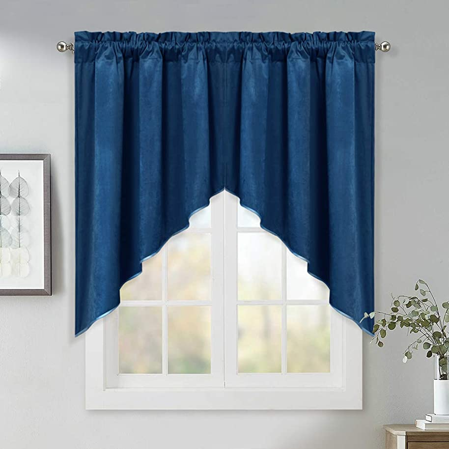 Home Decoration Window Swags Curtains - 36 Inch Long Luxury Velvet Textured Tier Curtains Classic Rod Pocket Scalloped Valance Panels for Kitchen/Cafe Store, Blue, W35 x L36, 2 Pcs