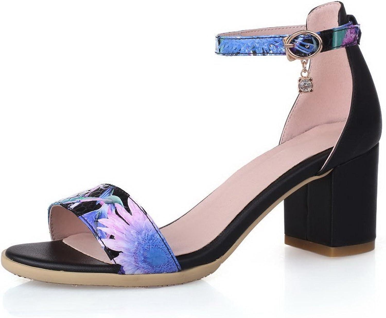 WeenFashion Women's Kitten Heels Assorted color Buckle Open Toe Sandals