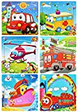 Puzzles Toys for Kids for Age 2-5, 9 Pieces Vibrant Wooden Animals & Vehicle Kids Educational Puzzles for Toddlers, Set of 6 Preschool Puzzle Autism Children Puzzles Learning Toys(6 Puzzles)