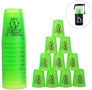 Erlsig Quick Stacks Cups 12 Pack of Sports Stacking Cups Speed Training Game Challenge Competition Party Toy with Carry Bag (Green)