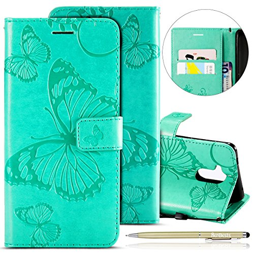 Herbests Kompatibel mit Huawei Honor 6C Handy Hülle Tasche Leder Handy Schutzhülle 3D Retro Schmetterling Tasche Leder Flip Hülle Cover Lederhülle Magnet Kartenfach Handytasche,Grün