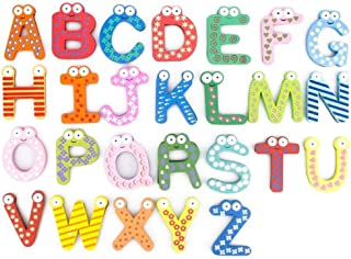 26 Capital Letters Fridge Magnet Wooden & Magnetic Stickers Baby Educational Toy-mz3210