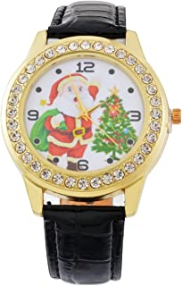 Souarts Womens Artificial Leather Christmas Tree Rhinestone Quartz Analog Wrist Watch 25cm