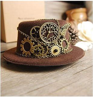 LaVintageエレガントウィンターウールフェドラ ヴィンテージさん女性のためのミニシルクハットパーティー装飾帽子スチームブラウンパンクハットトップアクセサリーギアベース大人の帽子 女性の女の子の夏の麦わら帽子 (色 : コーヒー, サイズ : 28-30cm)