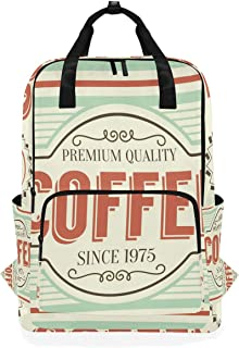 MONTOJ Mochila de Viaje Retro con patrón de café Mochila Escolar