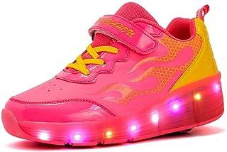 Black 38 M EU//5.5 M US Big Kid FG21ds21g Kids Roller Skates LED Light Up Sneaker USB Charging Double Wheels Luminous Shoes for Boys Girls