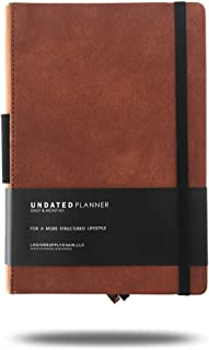 Daily & Monthly Planner UNDATED - Premium Leather - The Perfect Handheld Size Planner - for A More Structured Lifestyle (Cognac)