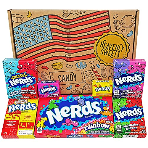Heavenly Sweets Scatola di Caramelle Americane Assortite Nerds - Selezione di Dolcetti e Snack Americani Misti - Regalo Ideale per Compleanno, Halloween e Feste Natalizie - Confezione da 25x18x2,5cm