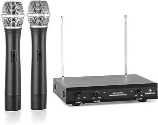 auna VHF-2-H - 2-kanaals VHF-radiomicrofoonset, radiosysteem, 2 x handmicrofoon, tot 100 m bereik, 174-270 MHz frequentieb...