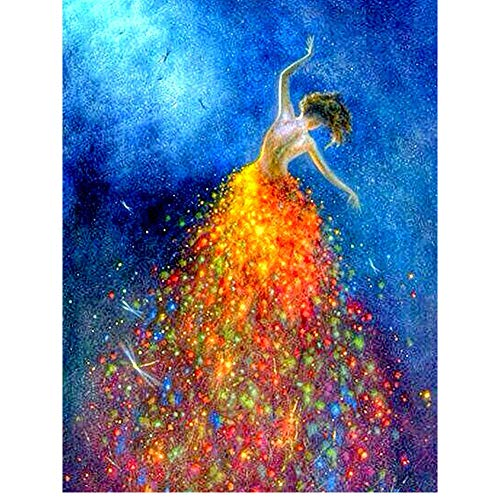 5D Diamond Painting Diamant Malerei Painting Bilder, Wowdecor Ballett Mädchen Golden Kleid Libelle Full Set Groß DIY Diamant Gemälde Malen Nach Zahlen