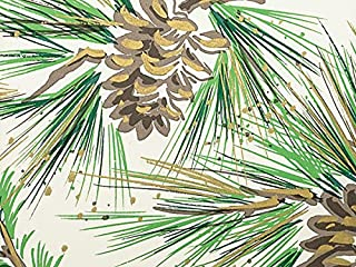 NEW Pine Boughs & Pine Cones w/Gold Accents Christmas Gift Wrap Paper - 16ft Roll