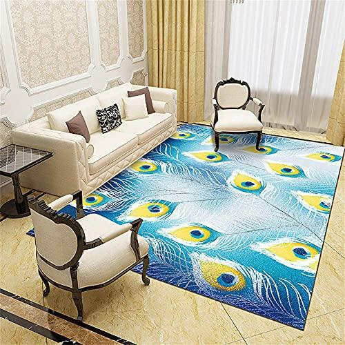Tapis Salon Moderne Grand Tapis Pas Cher Blue Jaune Feather Design Chambre Enfants Girl Girl Safety Sécurité Répondre Durable Carpette Chambre 40X60cm
