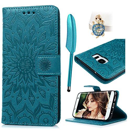 Funda para Samsung Galaxy S7 Edge, Libro de Cuero Impresión de Suave PU Premium e Silicone TPU Carcasa, Correa de Mano, Soporte Plegable, Ranuras para Billetera, Cierre Magnético Girasol Azul