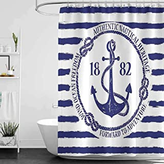 Shower Curtains for Bathroom with Anchor,Old Authentic Nautical Emblem with Anchor on a Striped Background Freedom Heritage,White Blue W65 x L72,Shower Curtain for Women