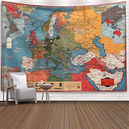 WERT Mapa del Mundo 3D geométrico Tapiz Colgante de Pared Toalla de Playa decoración del hogar Tapiz de Tela de Fondo A17 73x95cm