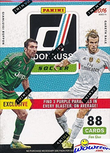 2016-17 Panini Donruss Soccer HUGE Factory Sealed Blaster Box with 88 Cards including EXCLUSIVE PURPLE PARALLELS! Look for ROOKIE Cards of CHRISTIAN PULISIC & Autos of Messi, Ronaldo, Neymar & More!