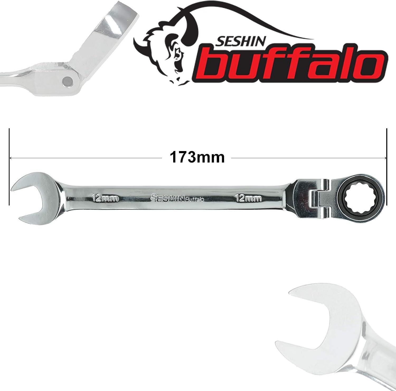 cabeza flexible herramienta de mano profesional extremo abierto y anillo acero al carbono 8 mm 8 mm Llave combinada de trinquete Buffalo