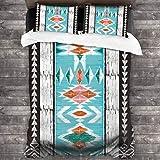 3 Piezas Juego Funda De Diseño Personalizado,Naranja Abstracto Tribal Azteca Patrón Geométrico Ornamental Étnico Nativo,Ropa de Cama Set 1 Edredón 2 Fundas de Almohada Microfibra jueg(220*230cm)