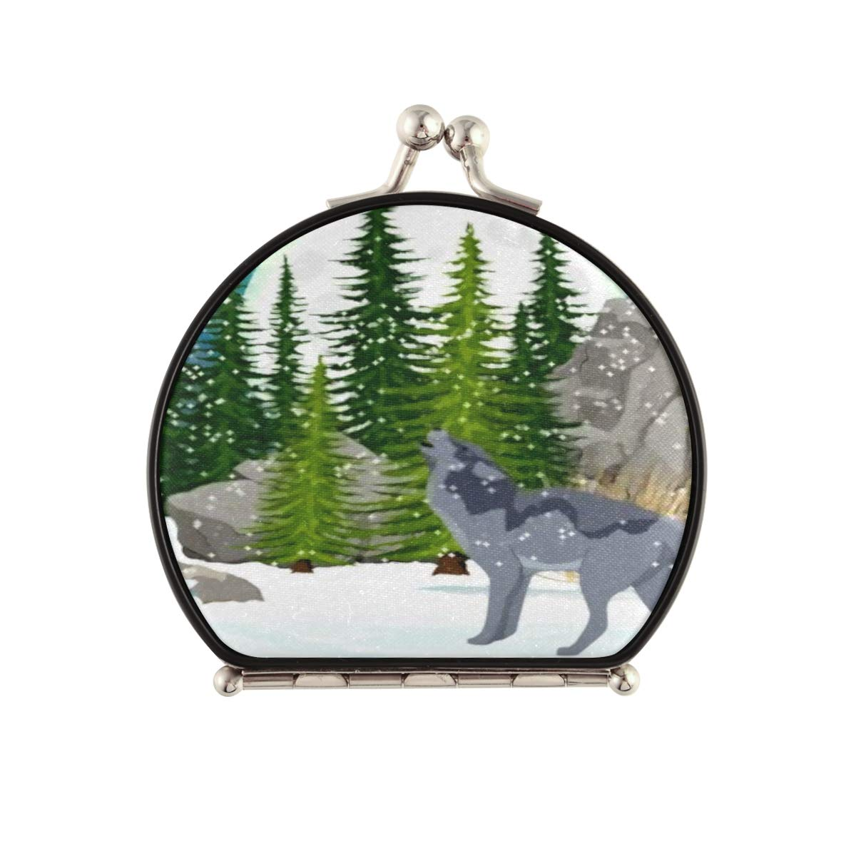 Magnifying Compact Cosmetic Mirror Limited time sale Memphis Mall Wolf Forest Spruce Moon Howls