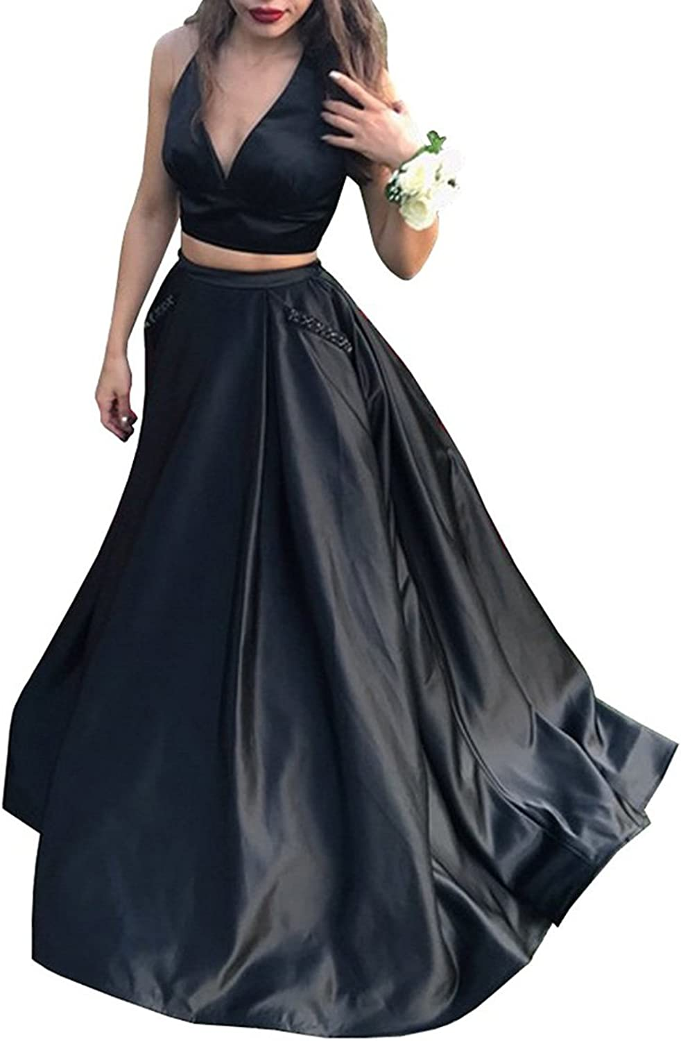 CCBubble 2 Piece Prom Dresses 2018 Satin V Neck Evening Party Dresses