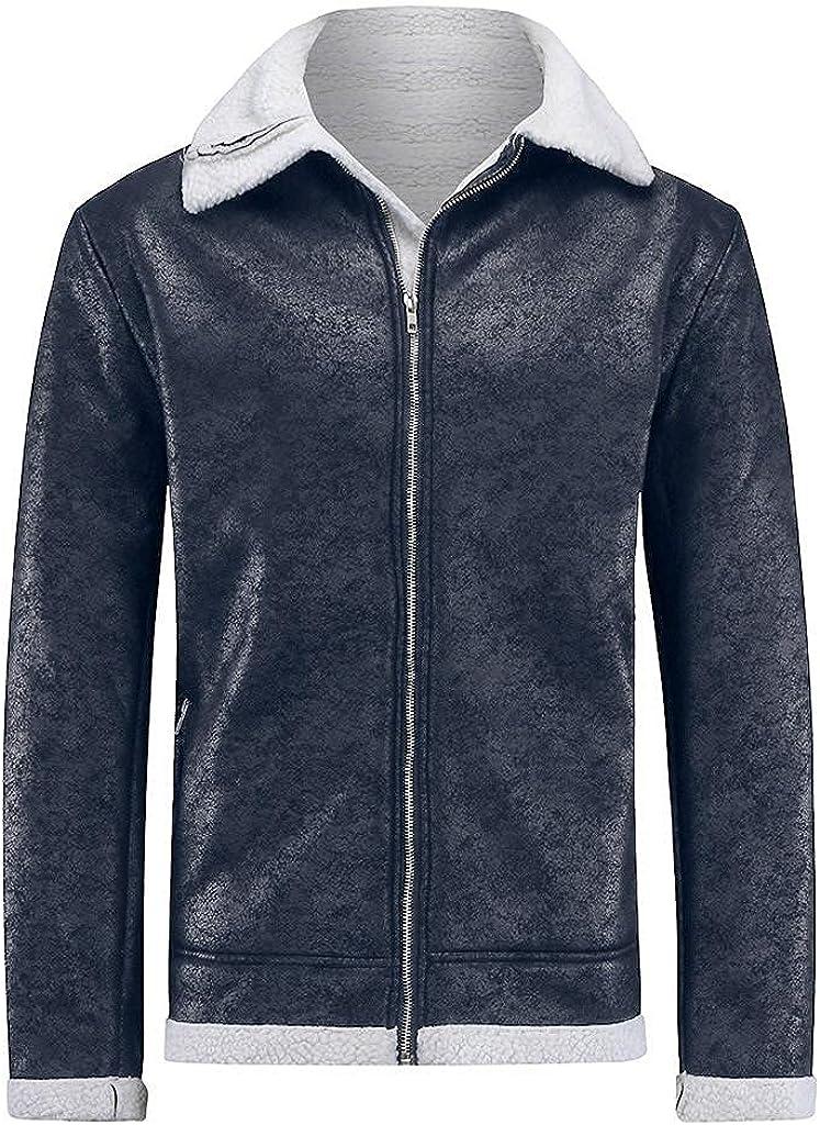 Mens Heavyweight Bomber Jackets Casual Sherpa Fleece Lined Faux Leather Zipper Winter Warm Coats for Mens