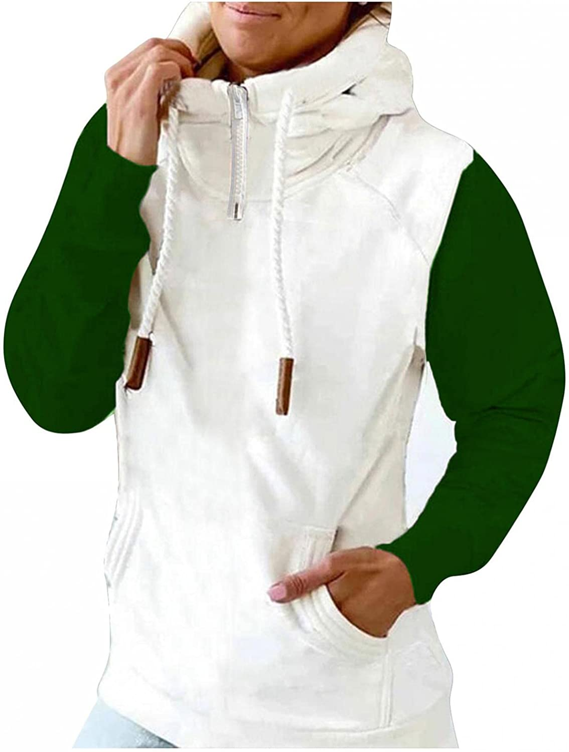 Gibobby Hooded Sweatshirts for Women 1/4 Zipper Pullover Casual Button Pocket Long Sleeve Blouses Drawstring Hoodies Top