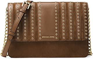 74f0d53ea22d2b Michael Kors Brooklyn Large Grommet Suede and Leather Crossbody in Caramel