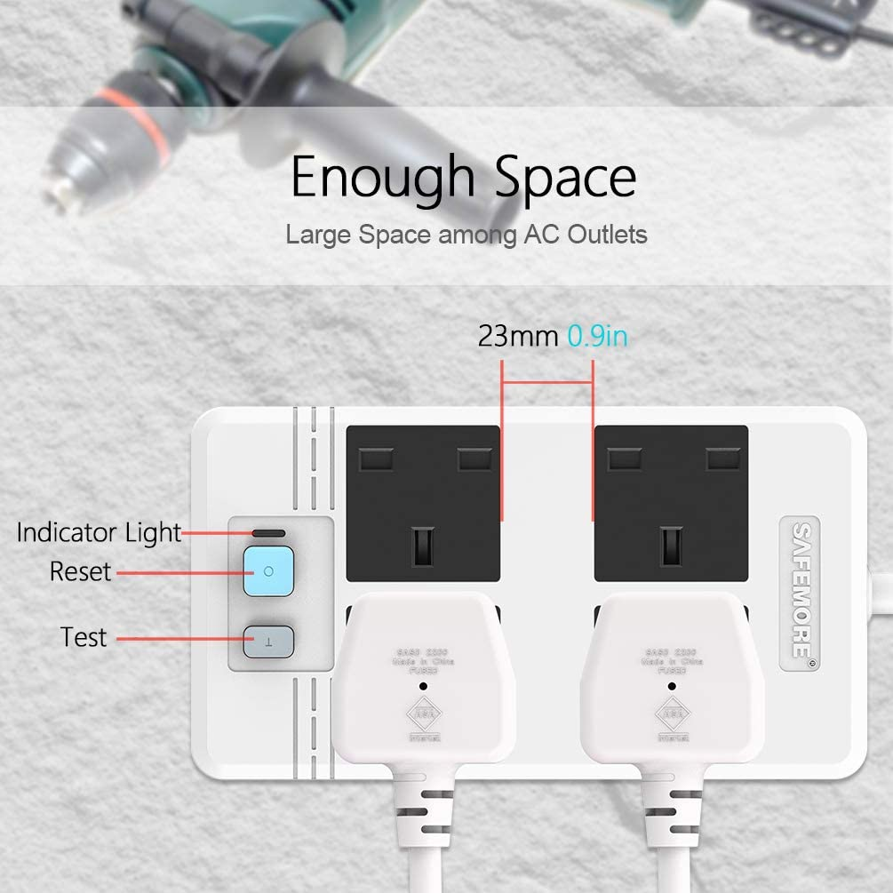 240V,13A ,3M// 9.84FT-White SAFEMORE Extension Lead 4 Way Socket Power Strip Surge Protector with Safety RCD outlets and GFCI Breaker Leackage Protection