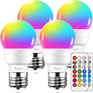 Color Changing Light Bulb RGB LED Light Bulbs, Dimmable 5W, 40W Equivalent,500LM, E26 Screw Base bulbs, Decorative Flood Lights, Mood Light -Timing,12 Colors,2700K,Great for Home, Stage, Party(4 pack)