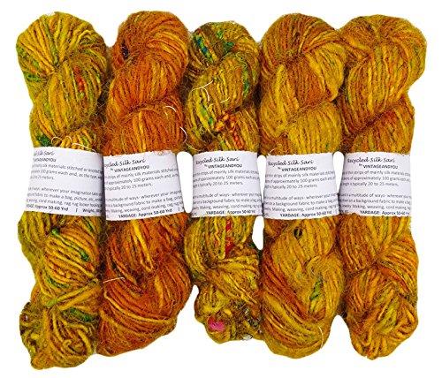 VintageandYou 100g Recycled Sari Seidengarne Hand Spun Senf-Gelb Soft-Yarns