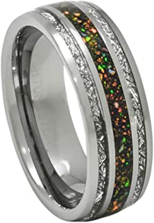 Created-Opal Ring with Imitated Meteorite 8mm Tungsten Wedding Band or Gift 7-13