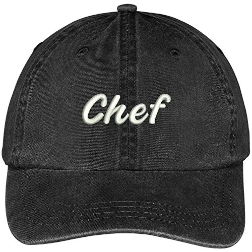 Trendy Apparel Shop Chef Embroidered Washed Cotton Adjustable Cap - Black