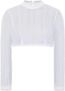Spieth & Wensky Damen Dirndl Bluse hochgeschlossen aus Spitze mit Langen Ärmeln weiß, WEIß,