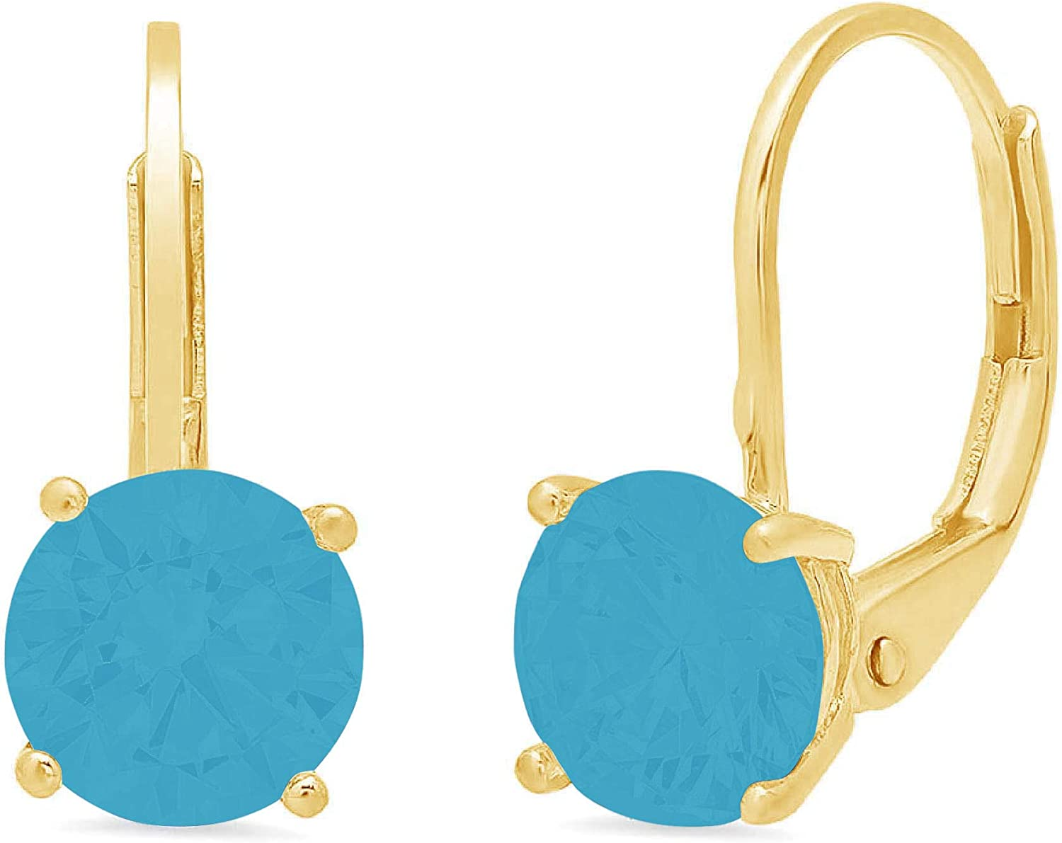 Clara Pucci 3.0 ct Brilliant Round Cut Solitaire VVS1 Flawless Simulated Turquoise Gemstone Pair of Lever back Drop Dangle Earrings Solid 18K Yellow Gold