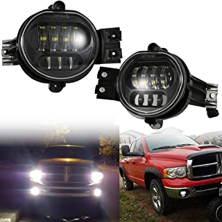 2019 New Version LED Fog Lights Passing Lamps For Dodge Ram 1500 2500 3500 Pickup Truck 2002 2003 2004 2005 2006 2007 2008 2009 Durango 2004-2006 Truck Black