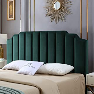 24KF Mid-Century Velvet Upholstered Tufted headboard with Vertical Channel Design King/California King-Jade Green