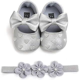 EDOTON Bébé Fille Chaussures avec Bandeau Cadeau Ensemble Bambin Fille Belle Printemps Fleur Semelle Souple Anti-dérapant ...