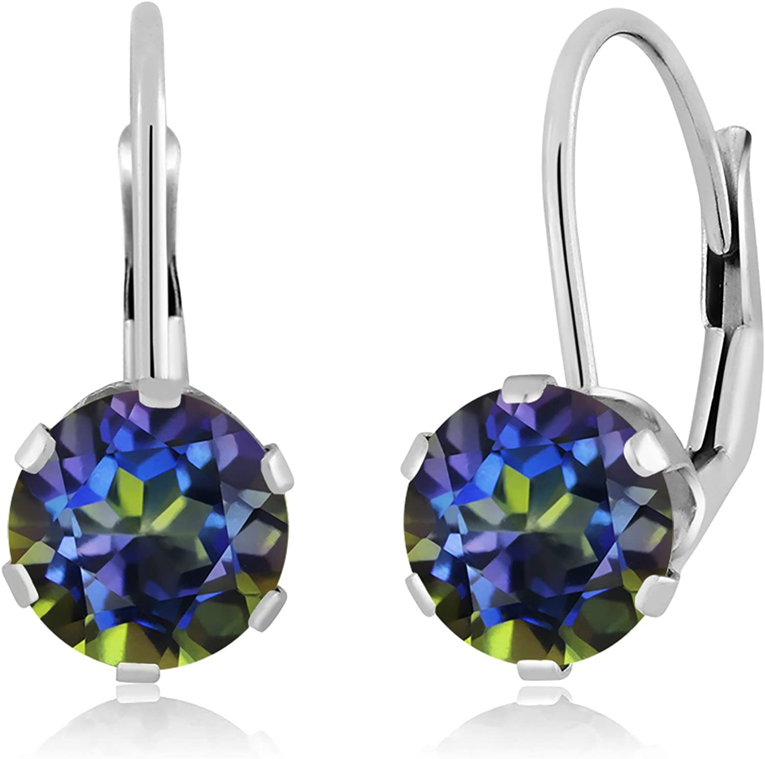 1.60 Ct Round bluee Mystic Topaz 14K White gold Earrings