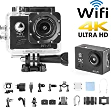 $28 Get H9 Sport Camera Action Video Camera 4K WiFi Waterproof Sports Camera Full HD 4k 30fps 1080P 60fps 720p120fps Ultra HD Camera 16MP Photo and 170 Wide Angle Lens Rechargeable 1050mAh Battery Black