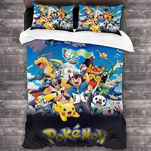 SK-PBB Pokemon Pikachu Bettwäscheset, weich und bequem, hochwertige Polyesterfaser, dreiteiliger Anzug, Anti-Falten- und Anti-Fading-Bettwäsche. (Pokémon1,135x200cm(80x80))