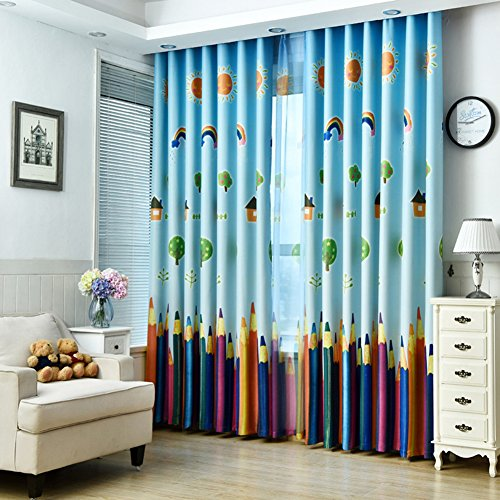 1 Panel Dining Room Curtains,Kids Room Darkening Curtains,Room Decor for Childrens Living Room Bedroom Colorful Pencil (39Wx84L)