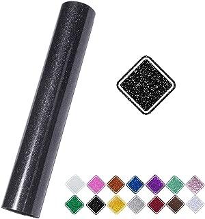 VINYL FROG Glitter 0.8x5ft Black Heat Transfer Vinyl Roll(HTV) for T-Shirt Clothing Garment Bags (9.8