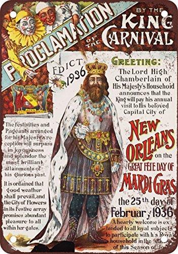 1936Mardi Gras New Orleans Vintage Look Reproducción Metal Tin Sign 8x 12Pulgadas