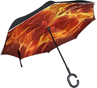 Heart Fire Inverted Umbrella with Light Reflection Strip, Double Layer Car Reverse Umbrella, Auto-Open Self-Standing Umbrella with C-Shape Handle